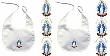 Baby Child Christening Baptism White Bib Gold Silver Embroidery Holy Virgin Mary