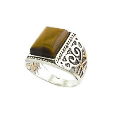 Men's Silver Plated Elegant Square Tiger Eye Agate Natural Stone Fashion Rings!