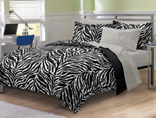Zebra Queen Or Full Black/White 7-piece Bed-in-a-Bag with Sheet Set Home Bedroom