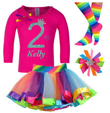 2nd Birthday Girl Shirt Glitter Rainbow Tutu Outfit Gift Set Sock Hair Bow Name