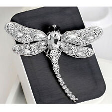 Women Rhinestone Crystal Alloy Lady Dragonfly Pin & Brooch Jewelry 4 Colors