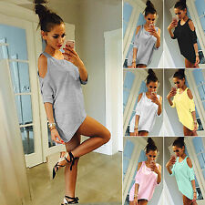 Women Loose Tops Blouse Short Sleeve Mini Dress Sexy Off Shoulder T-shirt Blouse