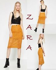 ZARA Midi Length Half Lined Straight New Skirt Yellow Mustard Stretch Waist M L