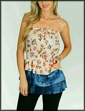 Strapless Floral Print Smocked Tube Top