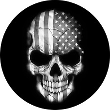 Flag Skull Spare Tire Cover on Black Vinyl