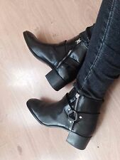 Zara Black Leather High Heel Ankle Boots Shoes Size UK3, 4, 5, 7