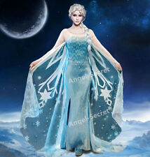 J767 Movies Frozen Snow Queen Elsa Cosplay Costume Deluxe dress tailor theatre
