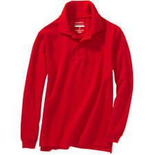New George Boys School Uniforms Long Sleeve Pique Polo Shirt Red , Large 10-12