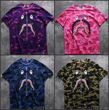 Popular Men's Bape CamoShark Jaw Fake Zipper Pattern A Bathing Ape Tee Shirt