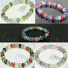 Fashion Women Crystal Faceted Loose beads Bracelet Stretch Bangle Jewelry Gift