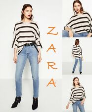 ZARA Oversized Ecru/Black Striped Shirt 3/4 Sleeve New Cotton/Linen Top Size S M