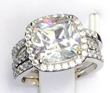 3pc Bridal Set 5ct Cushion Simulated Lab Diamond Engagement 925 Silver Halo Ring
