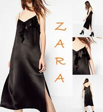 ZARA Black Satin Strappy Mid-Calf Dress with Front Frill New (RT$55) Dress S M