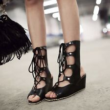 Womens Leather Lace Up Med Heels Wedges & Platforms Open Toe Lady Sandals Shoes