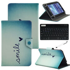 """Heart Smile For 7"""" 8"""" 10.1"""" Tablet Universal Folio Case Cover+Bluetooth Keyboard"""