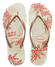 326d45ece Havaianas Women`s Flip Flops Slim Organic Sexy Sandals White and Rose Gold  NWT