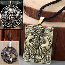 Odin Huginn Munin Raven Eye Rune Viking Nordic Pendant Valknut Necklace jewelry