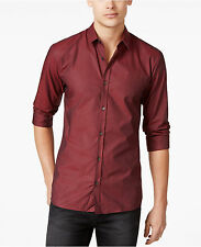 Hugo Boss Ero 3 Mens Textured Button Front Slim Fit Shirt Red