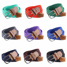 R Men Leather Braided Elastic Stretch Cross Buckle Casual Golf Belt Waistband
