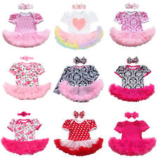 0-24 Months Baby Girl Romper Tutu Dress Headband Floral Outfits Party Clothes