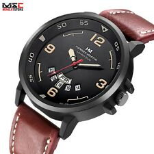 Military Leather Date Quartz Watch Army Sport Men's Stainless Steel Wrist Watch