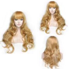 Women 65cm Blonde Middle Shoulder Length Long Curly Anime Cosplay Wigs+Wig Cap