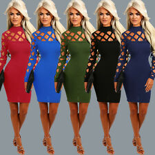 Women Sexy Long Sleeve Hollow Out Dress Bandage Bodycon Clubwear Evening Dress