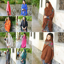 R Women Large Embroidered Floral Scarf Cotton Linen Pashmina Shawl Wrap Scarves