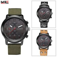 Military Leather Band Men's Stainless Steel Retro Quartz Sport Army Wrist Watch