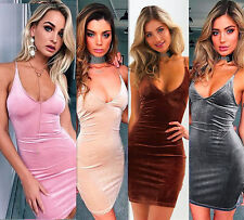 Women Sexy V-neck Spaghetti Strap Mini Dress Bodycon Clubwear Evening Party Club