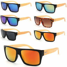 Bamboo Wooden Retro Vintage Men Women Rectangle Sunglasses Fast Postage