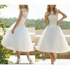 Womens White Lace Floral Formal Short Wedding Tutu Dress Bridal Party Prom Gown