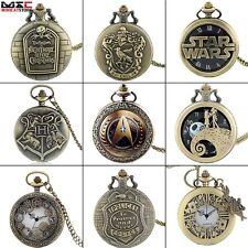 Antique Bronze Stainless Steampunk Pocket Watch Quartz Watch Pendant Chain Gift