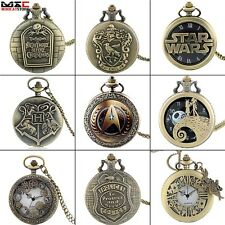 Antique Pocket Watch Mens Quartz Watch Pendant Necklace Chain Punk Gift Full New