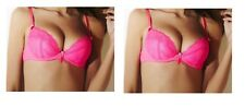 ANN SUMMERS PURE LACE HOT PINK NEON CERISE PADDED PLUNGE PUSH UP DIAMANTE BRA