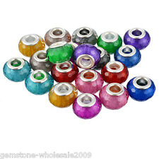 Wholesale  Mixed European Charms Spacer Beads Rhombus Scrub Jewelry Marking 14mm