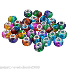 Wholesale Mixed European Charms Spacer Beads Glass Jewelry Marking 14.5mm