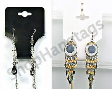 1000 BLACK n WHITE NECKLACE n EARRING COMBO JEWELRY FOLDOVER HANG TAGS USA Made