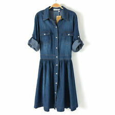 Women Denim Shirt Dress Button Dress 3/4 Sleeved Ladies Jeans Shirt Dresses