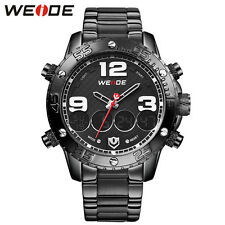 Weide Sports Anlaog Digital Backlight Men's Stainless Steel Quartz Wrist Watch