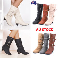 Women's Chunky Low Heel PU Leather Wedge Boots Over Knee Mid Calf Slip On Shoes