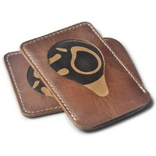 Mini ID Credit Card Holder Vintage Cowhide Leather Cover Travel Wallet License