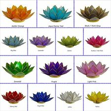 Lotus Tea Light Candle Holder Capiz Shell Home Flower Decorating Accent TeaLight