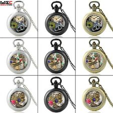 Steampunk Quartz Pocket Watch Antique Pendant Necklace Chain Mens Gift Locket UK