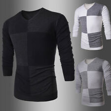 New Mens Fashion Pullover Casual Sweater Long Sleeve Slim Fit V-neck Knit Tops f
