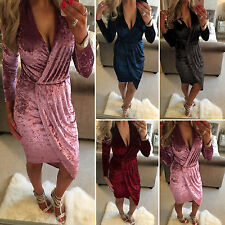 Hot Women Crushed Velvet Long Sleeve Bodycon Ladies Evening Cocktail Party Dress