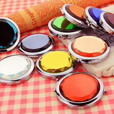 Fashion Mini Stainless Travel Compact Pocket Crystal Folding Makeup Mirror CO