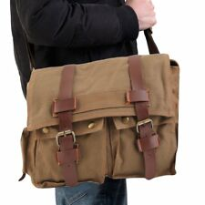 Men's Vintage Canvas Leather School Military Shoulder Messenger Bag FY