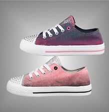 Junior Girls Board Angels Canvas Shoes Gradient Print Lace Up Pumps Size C4-2