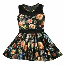 NEW GIRLS BLACK FLORAL WITH NET SLEEVELESS DRESS SIZE 2, 4, 6, 8, 10, 12 & 14